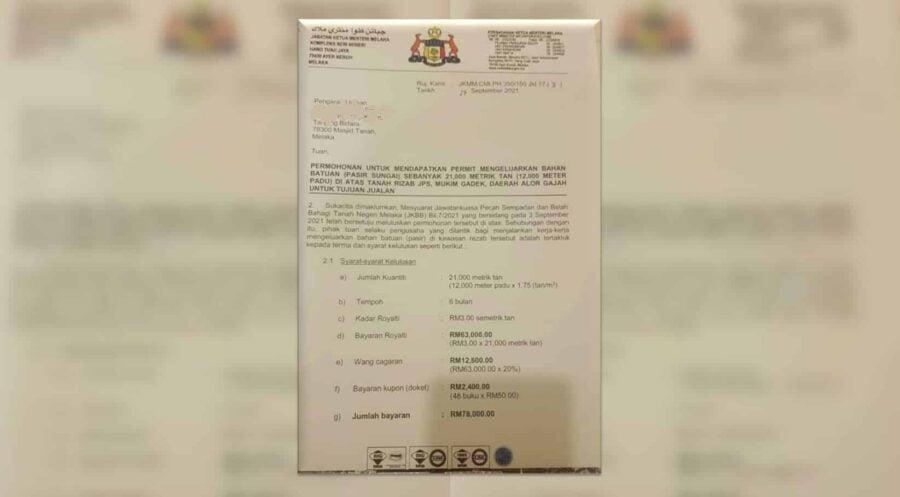 Panas! Selepas klip audio, kini tular pula surat kelulusan korek pasir pemimpin UMNO?